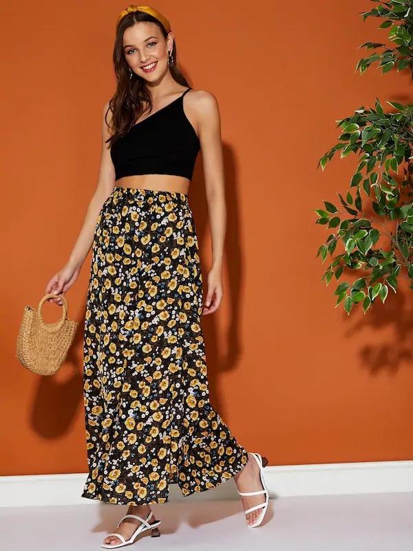 Floral Maxi Skirt With Split