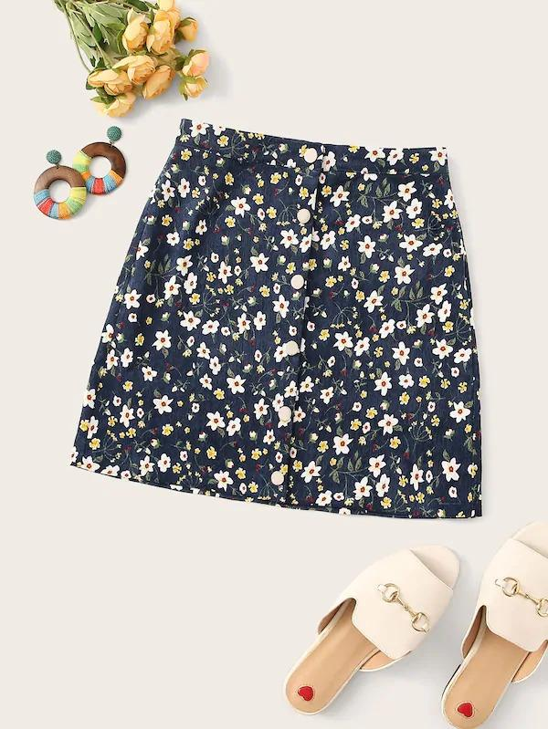 Floral Print Button Up Cord Skirt