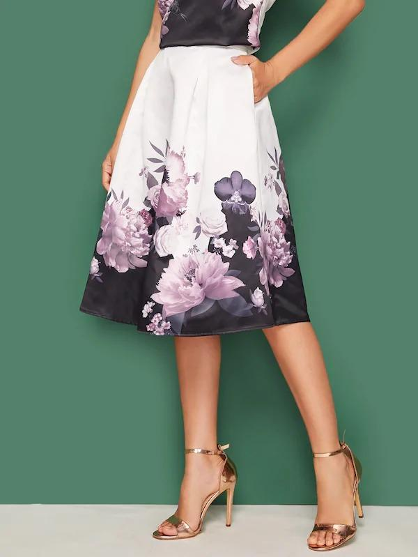 Floral Print Slant Pocket Pleated Skirt