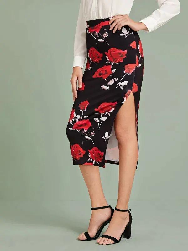 Floral Print Split Thigh Pencil Dress