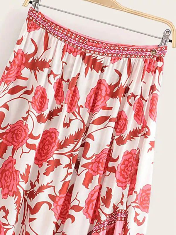 Floral Print Tulip Hem High Low Skirt