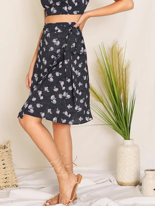 Floral Print Wrap Tie Side Skirt