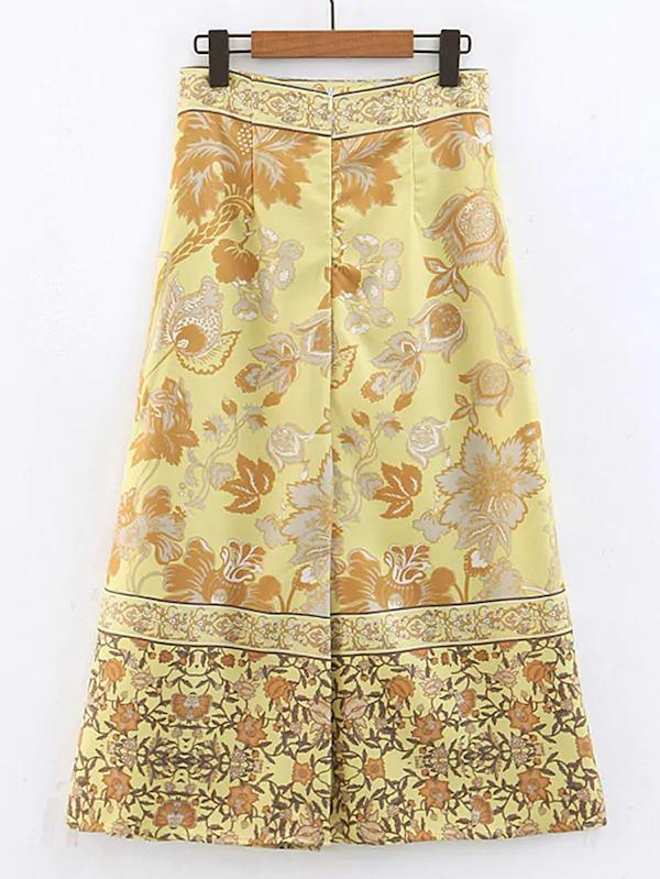 Floral Print Zip Back Wrap Skirt