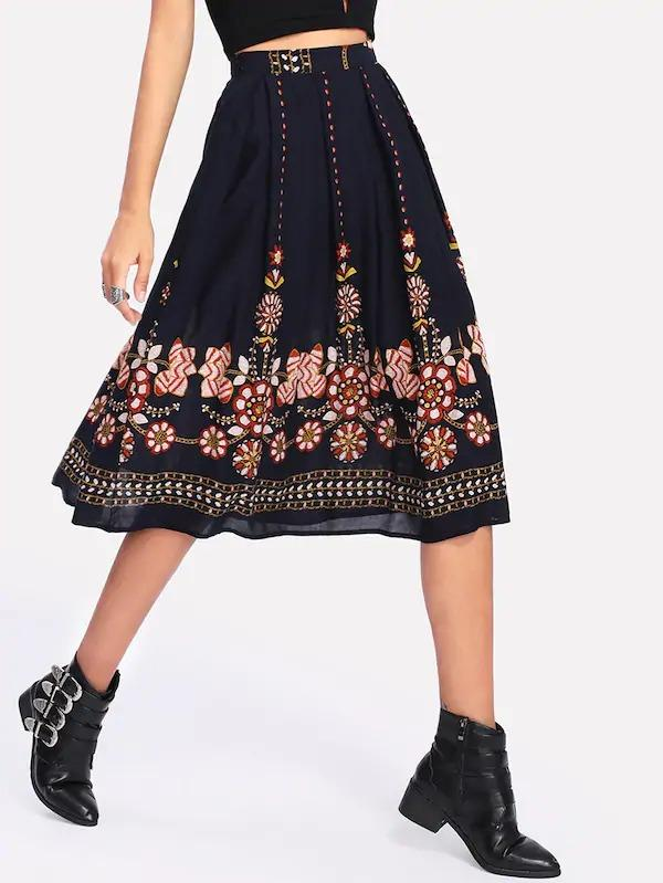 Floral Print Zip Side Skirt