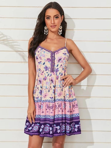 Women Floral And Tribal Print Cami Dress