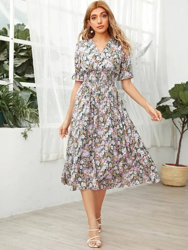 Women Floral Flounce Sleeve Shirred Waist Flowy Dress