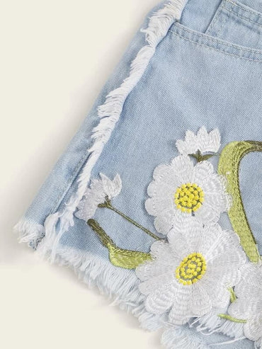 Women Floral Patched Raw Hem Denim Shorts