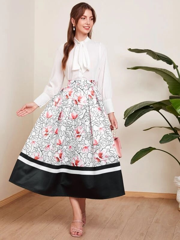 Women Floral Print Fold Pleated Front Colorblock Flare Skirt
