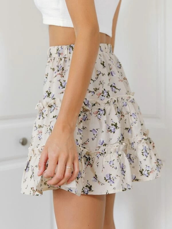 Women Floral Print Frill Trim Mini Skirt