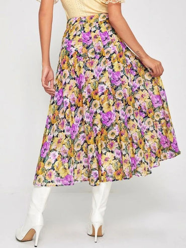 Women Floral Print Pleated Chiffon Skirt