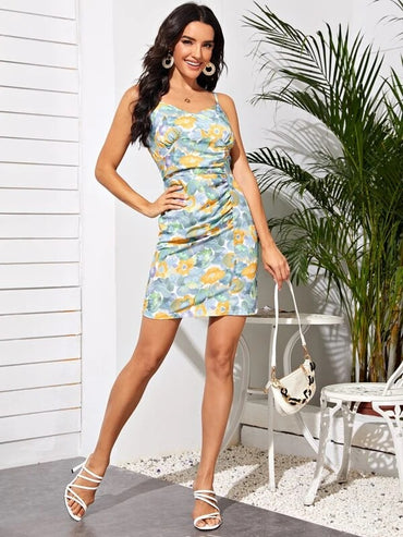 Women Floral Print Ruched Cami Dress