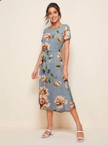 Women Floral Print Self Tie Dress