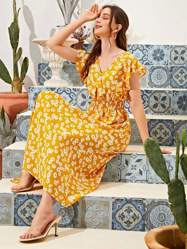Women Floral Print Shirred Waist Dress