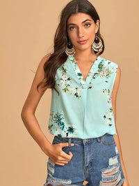Women Floral Print Sleeveless Top