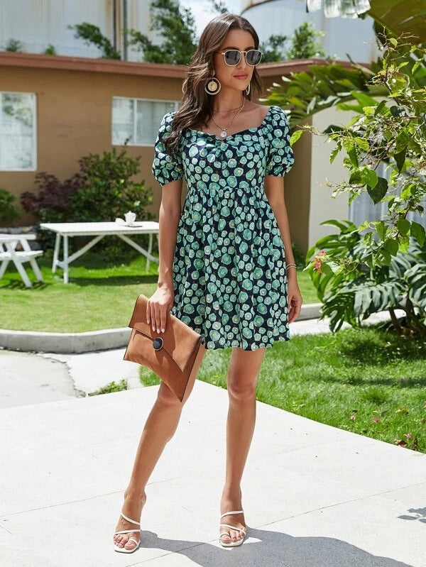 Women Floral Print Sweetheart Neck Dress