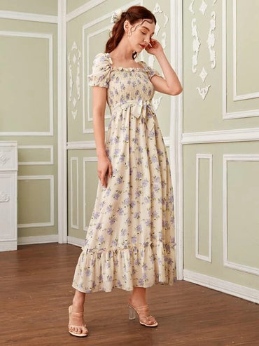 Women Floral Shirred Lettuce Trim Ruffle Hem Chiffon Dress