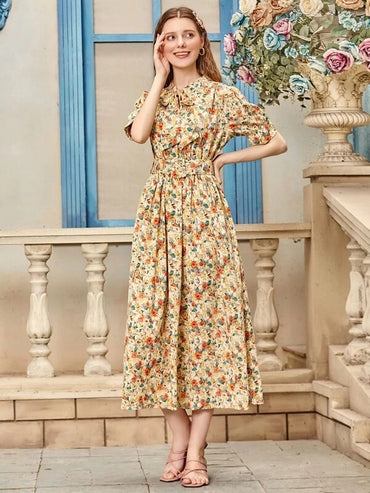 Women Floral Tie Neck Belted Dress