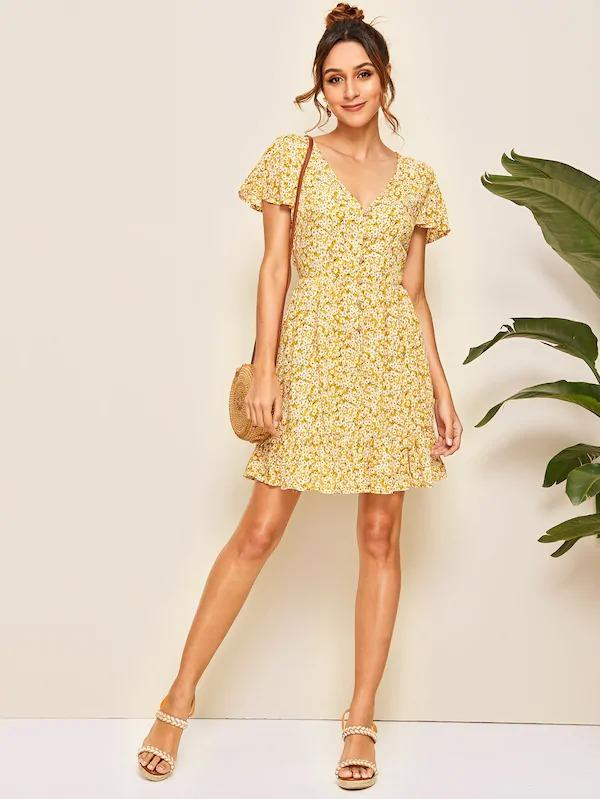 Floral Button Front Ruffle Hem Dress