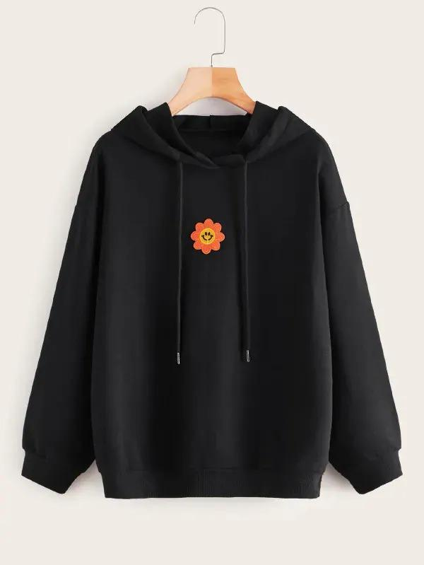 Floral Embroidered Drawstring Hooded Sweatshirt