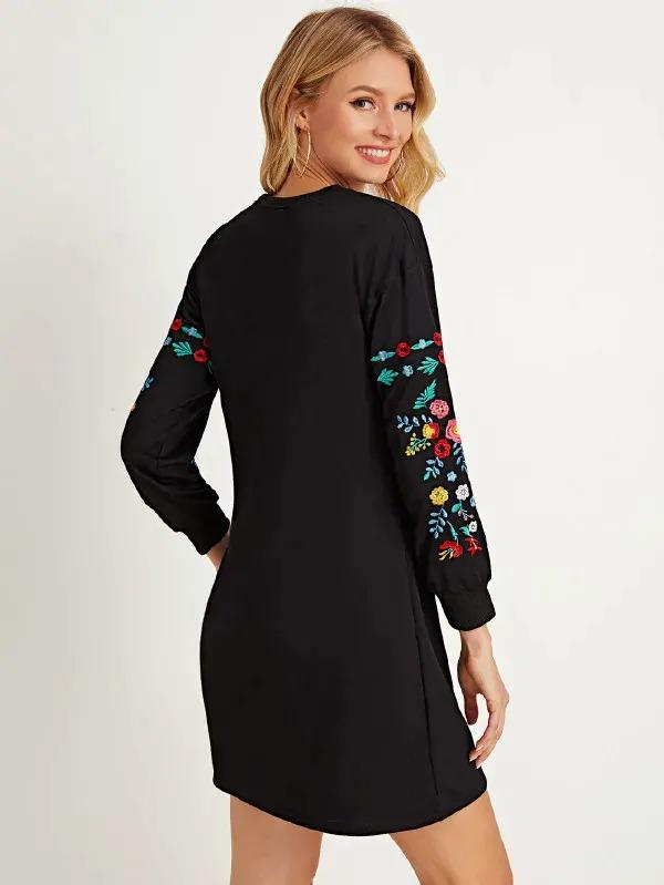 Floral Embroidered Sleeve Sweatshirt Dress