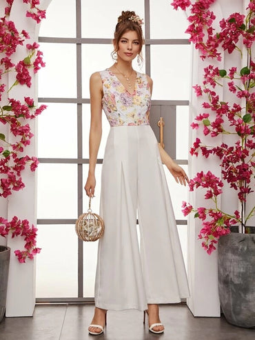 Floral Lace Bodice Wide Leg Sleeveless Jumpsuit