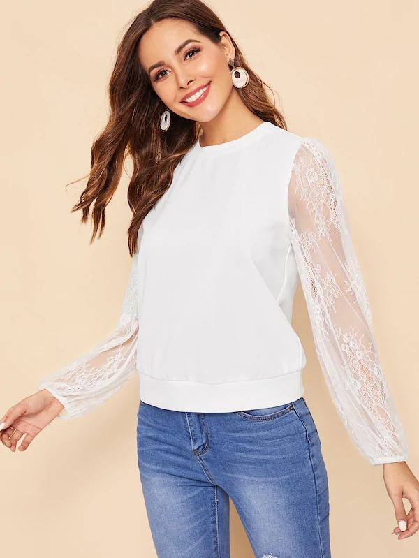 Floral Lace Sleeve Solid Sweatshirt