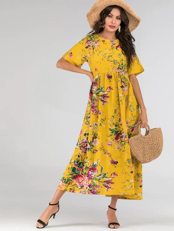 Floral Print Button Half Placket Maxi Dress