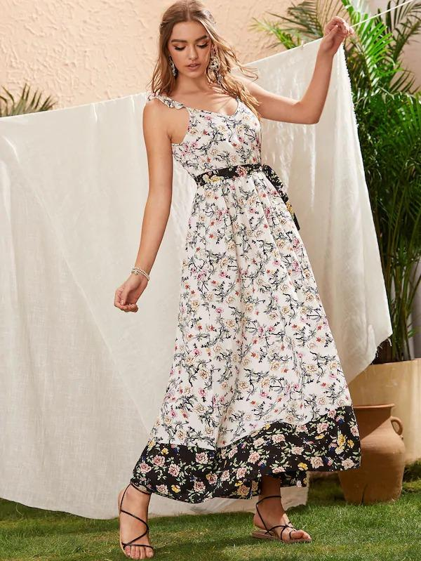 Floral Print Contrast Hem Belted Cami Dress