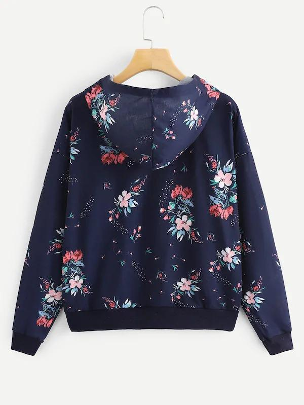 Floral Print Drawstring Hooded Sweatshirt