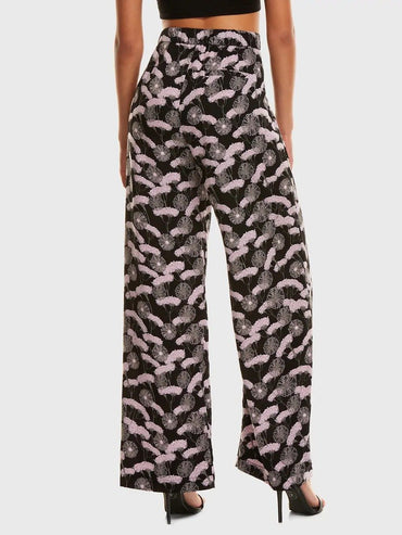 Floral Print Fold Pleat Wide Leg Pants