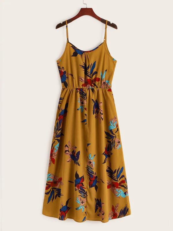 Floral Print High Waist Slip Dress
