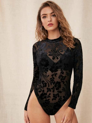 Floral Print Sheer Mesh Bodysuit Without Lingerie