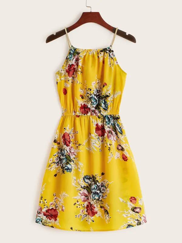 Floral Print Tie Front Slip Dress
