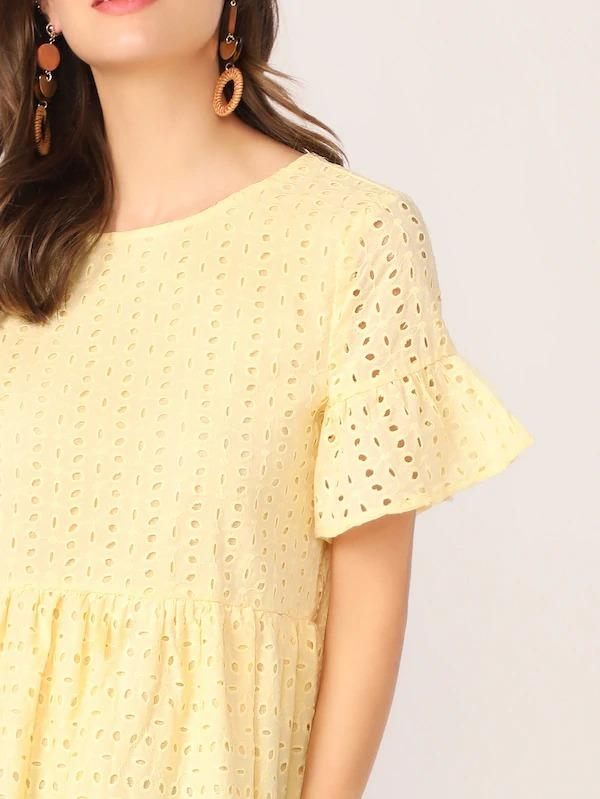 Flounce Sleeve Solid Schiffy Dress
