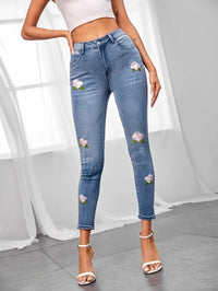 Women Flower Embroidered Skinny Jeans