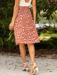 Women Flower Print Midi Skirt