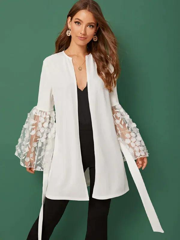 Flower Applique Embroidered Bell Sleeve Belted Coat