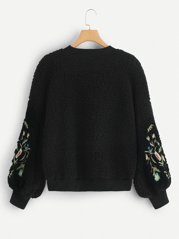 Flower Embroidery Teddy Pullover