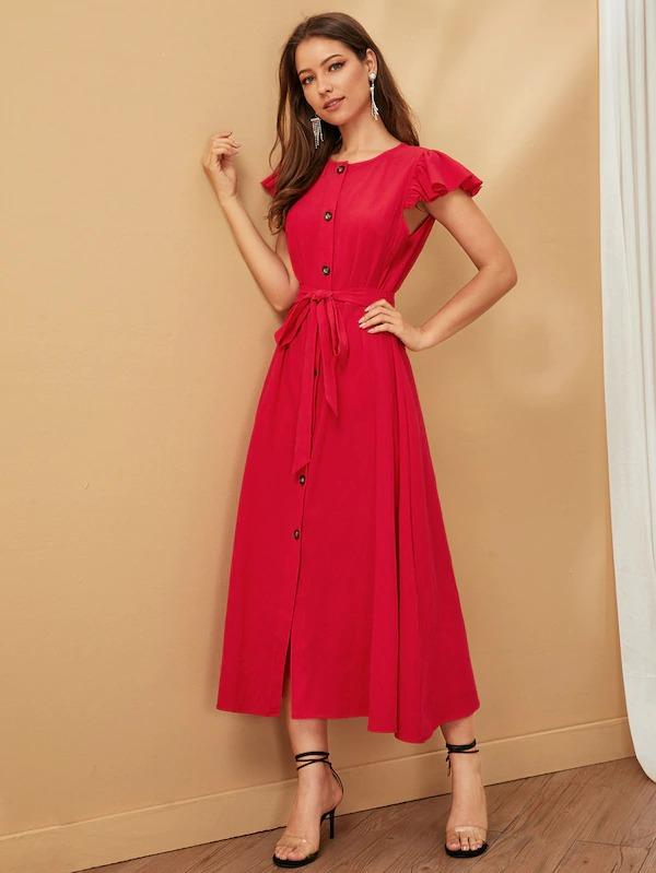 Flutter Sleeve Button Up Self Belted Dress