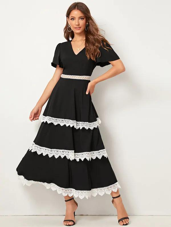 Flutter Sleeve Lace Trim Layered Ruffle Dress