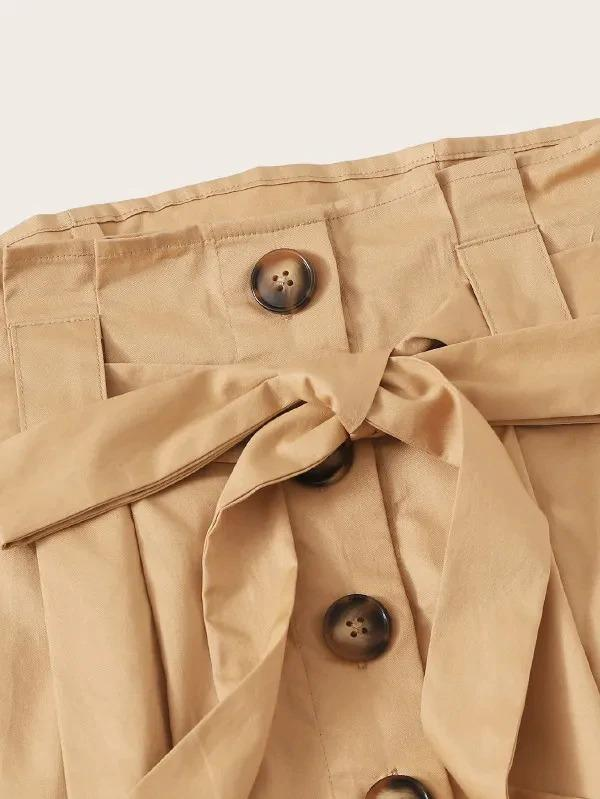 Fold Pleat Detail Button Up Belted Skirt