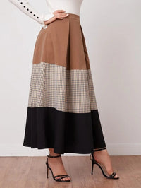 Women Fold Pleated Colorblock Skirt