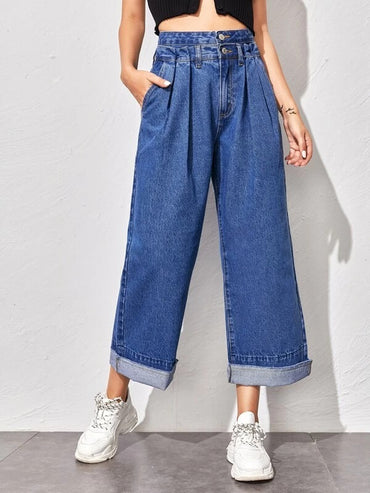 Women Fold Pleated Detail Wide Leg Jeans
