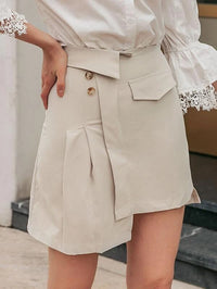Women Foldover Waist Asymmetrical Skirt