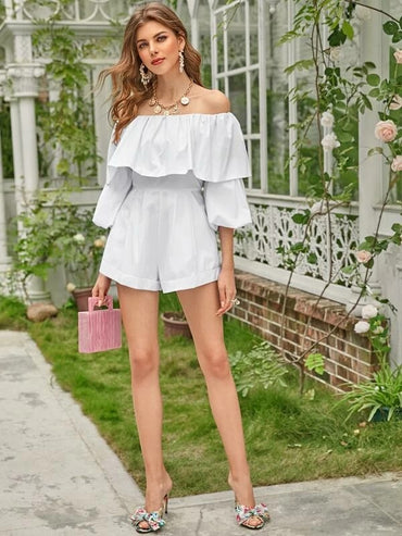 Foldover Off Shoulder Rolled Hem Romper