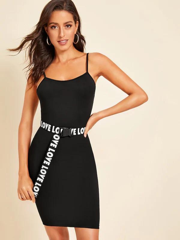 Form Fitted Cami Dress With Letter Push Buckle Belt
