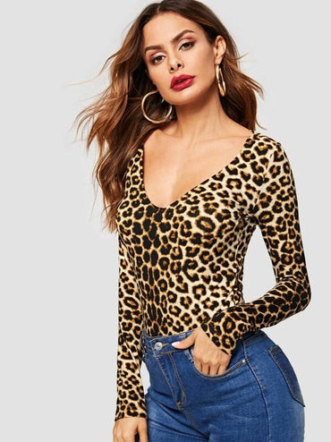 Form Fitted Leopard Bodysuit