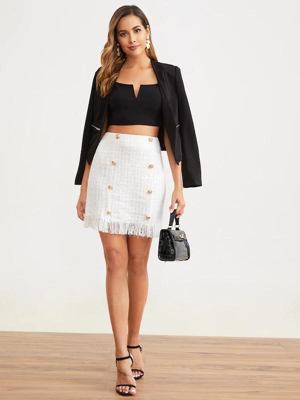 Frayed Edge Double Breasted Front Tweed Skirt