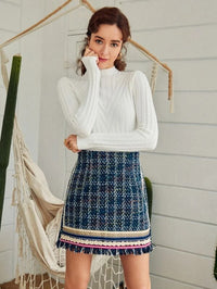 Women Frayed Hem Plaid Tweed Skirt