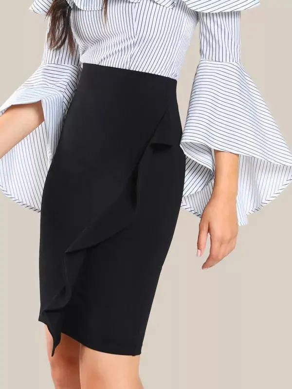 Frill Trim Form Fitting Skirt
